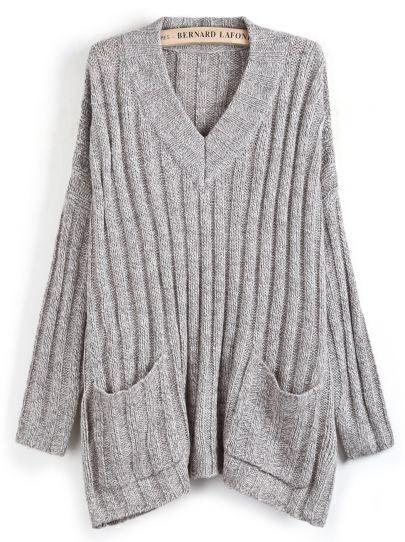 Grey Sweet Heart Neck Pockets Loose Sweater