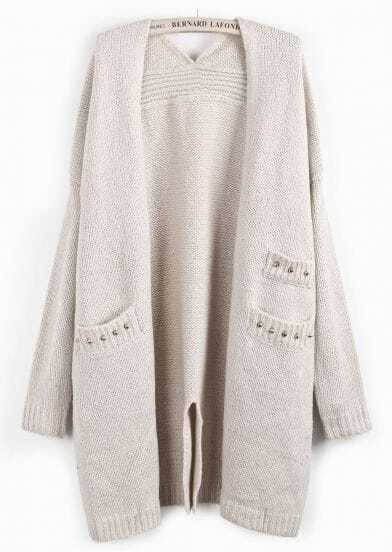 Apricot Long Sleeve Rivet Pockets Split Cardigan