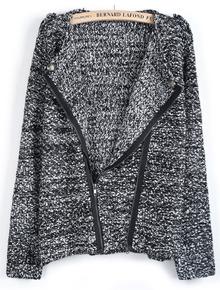 Black Long Sleeve Oblique Zipper Sweater