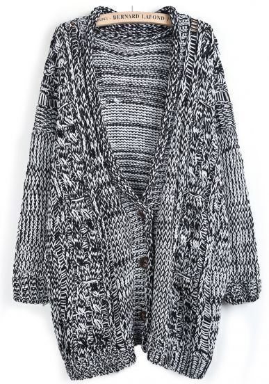 Black Deep V Neck Cable Knit Long Cardigan
