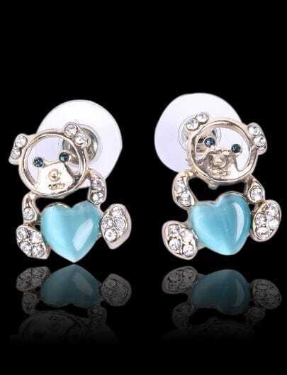 Blue Gemstone Heart Gold Diamond Earrings