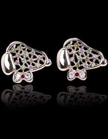 Multi Diamond Silver Hollow Stud Earrings
