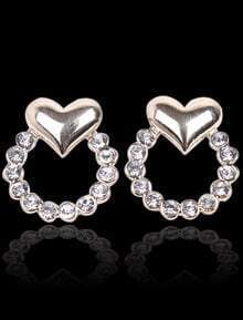 Gold Diamond Heart Stud Earrings