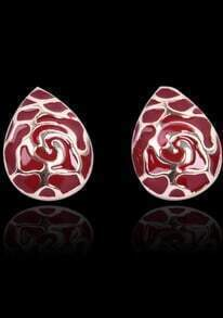 Red Glaze Gold Drop Stud Earrings