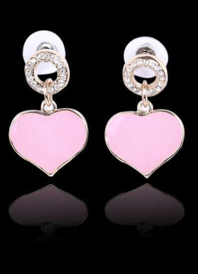 Pink Glaze Heart Gold Diamond Stud Earrings