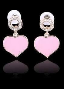 Pink Glaze Heart Gold Diamond Stud Earrings