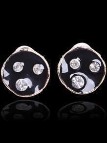 Black Glaze Gold Round Diamond Stud Earrings