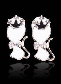 White Glaze Cat King Gold Diamond Stud Earrings