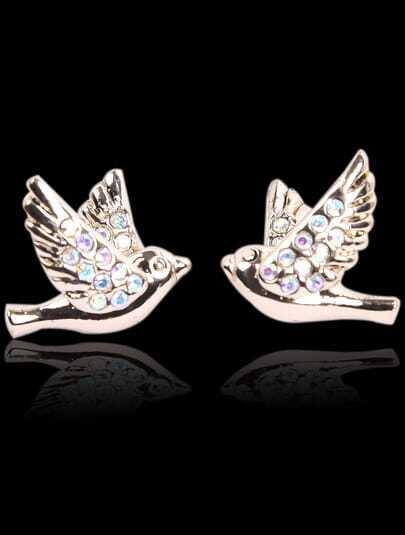 Gold Diamond Bird Stud Earrings