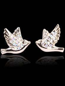 Gold Diamond Bird Stud Earrings
