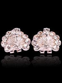Gold Diamond Peacock Stud Earrings