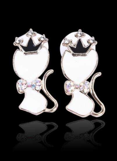 White Glaze Cat King Gold Diamond Stud Earrings