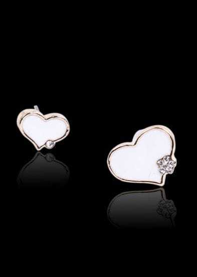 White Glaze Heart Gold Diamond Stud Earrings