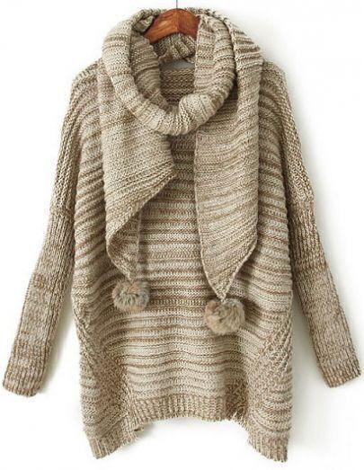 Khaki Shawl Collar Twisted Ball Loose Sweater