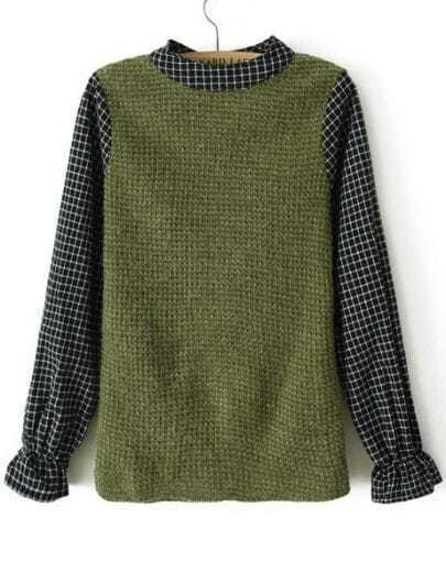 Green Contrast Plaid Long Sleeve Sweater