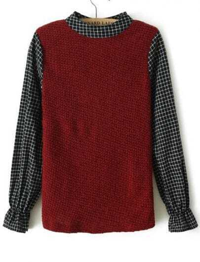 Red Contrast Plaid Long Sleeve Sweater