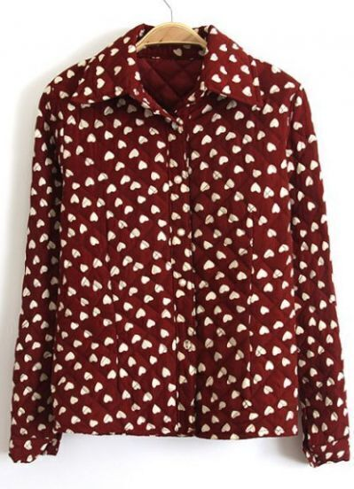 Red Lapel Long Sleeve Hearts Print Blouse