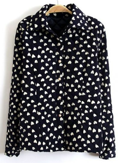 Navy Lapel Long Sleeve Hearts Print Blouse
