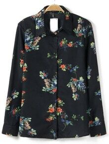 Black Stand Collar Long Sleeve Floral Blouse