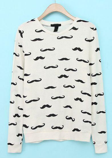 Beige Long Sleeve Beard Print Sweatshirt