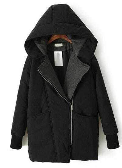 Black Hooded Long Sleeve Oblique Zipper Parka