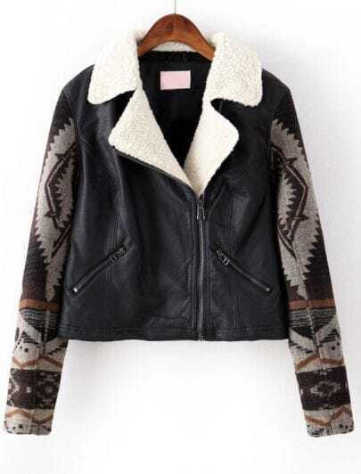 Black Contrast Geometric Pattern PU Leather Jacket
