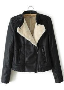 Black Long Sleeve Oblique Zipper PU Leather Jacket