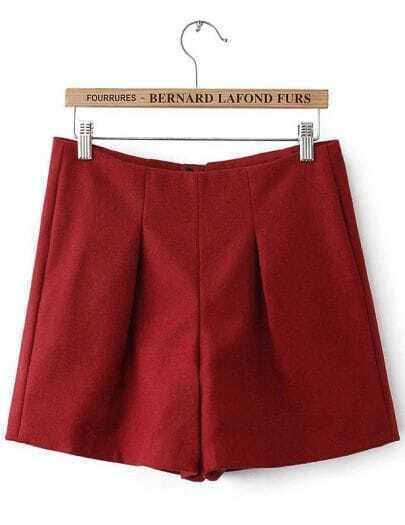 Red High Waist Zipper Slim Shorts