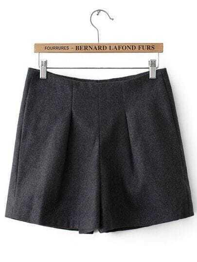 Grey High Waist Zipper Slim Shorts