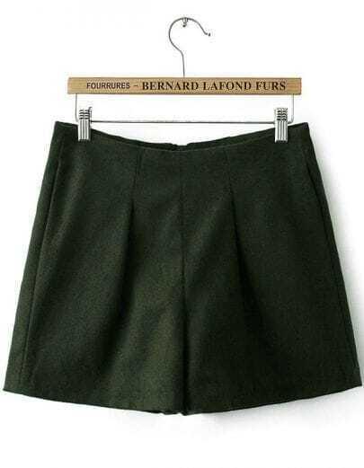 Green High Waist Zipper Slim Shorts