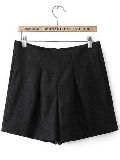Black High Waist Zipper Slim Shorts
