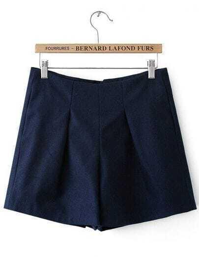 Navy High Waist Zipper Slim Shorts