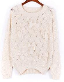 Beige Long Sleeve Bow Beading Hollow Sweater