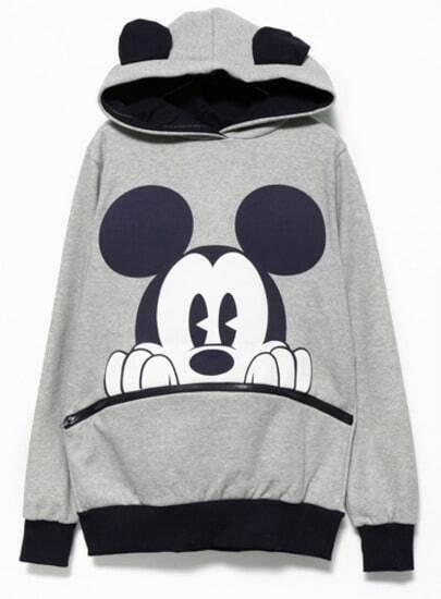Grey Black Long Sleeve Mickey Hooded Sweatshirt pictures