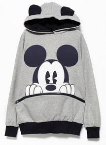 Grey Black Long Sleeve Mickey Hooded Sweatshirt