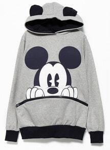 Grey Black Long Sleeve Mickey Hooded Sweatshirt
