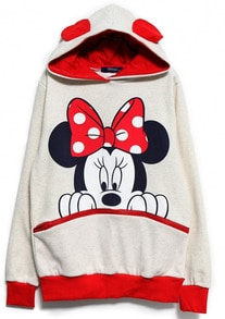 White Red Long Sleeve Mickey Hooded Sweatshirt -SheIn(Sheinside)