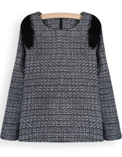 Grey Long Sleeve Black Rabbit Fur Embellished Blouse