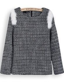 Grey Long Sleeve White Rabbit Fur Embellished Blouse