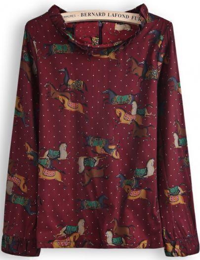 Red Long Sleeve Polka Dot Horses Print Blouse
