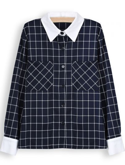 Blue White Plaid Long Sleeve Pockets Blouse