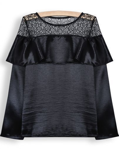 Black Long Sleeve Contrast Hollow Ruffle Blouse