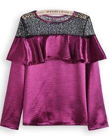 Purple Long Sleeve Contrast Hollow Ruffle Blouse