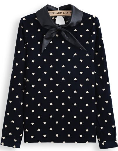 Blue Contrast PU Leather Collar Hearts Print Blouse