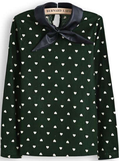Green Contrast PU Leather Collar Hearts Print Blouse