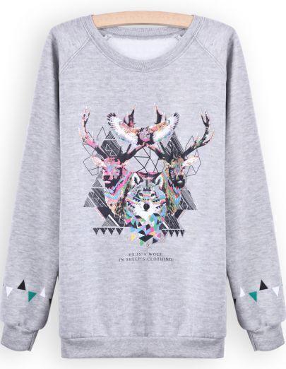 Grey Long Sleeve Animal Print Sweatshirt
