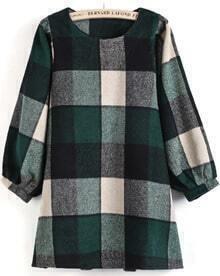 Green Long Puff Sleeve Plaid Loose Dress