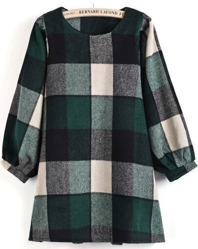 Green Long Puff Sleeve Plaid Loose Dress