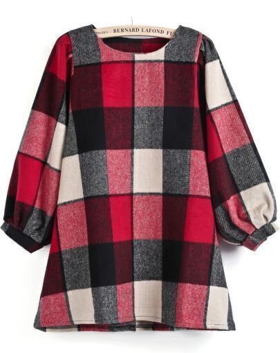 Red Long Puff Sleeve Plaid Loose Dress