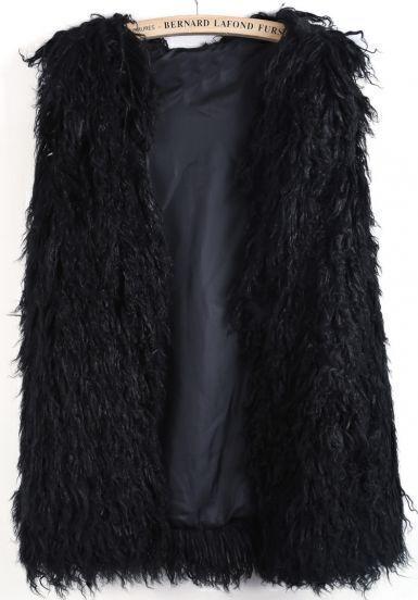 Black Sleeveless Faux Fur Long Vest